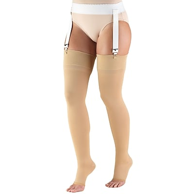 Truform Stockings, Thigh High, Open Toe: 20-30 mmHg, L, BEIGE (0866-L)