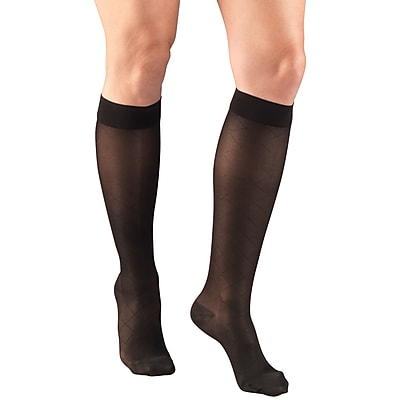 Truform Women's Stockings, Knee High, Sheer, Diamond Pattern: 15-20 mmHg, S, BLACK (1783BL-S)