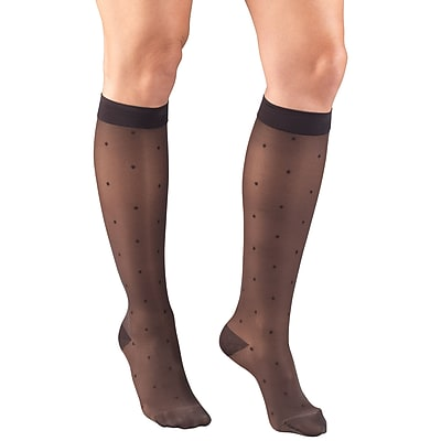 Truform Women's Stockings, Knee High, Sheer, Dot Pattern: 15-20 mmHg, XL, CHARCOAL (1782CH-XL)