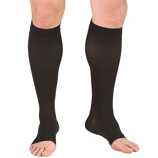 Truform Stockings, Knee High, Open Toe: 30-40 mmHg, M, BLACK (0845BL-M)