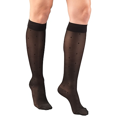 Truform Women's Stockings, Knee High, Sheer, Dot Pattern: 15-20 mmHg, M, BLACK (1782BL-M)