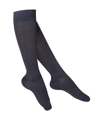 Touch Women's Compression Socks, Knee High, Checkered Pattern, 15-20 mmHg, L, NAVY (1063NV-L)