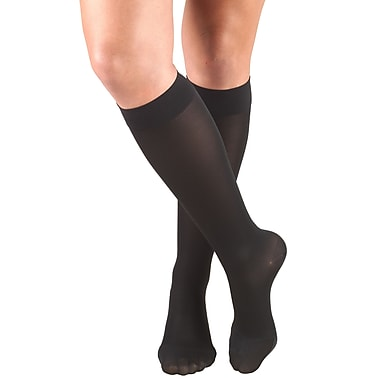Truform Women's Stockings, Knee High, Closed Toe: 20-30 mmHg, L, BLACK (0363BL-L)