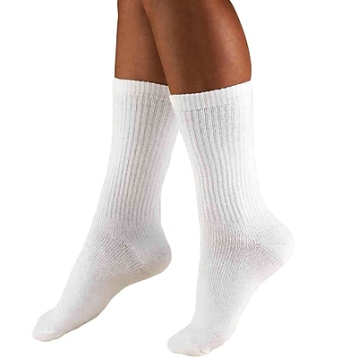 Truform Men's Socks, Crew Length, Cushion Foot, Active Casual Style: 15-20 mmHg, S, WHITE (1932-S)