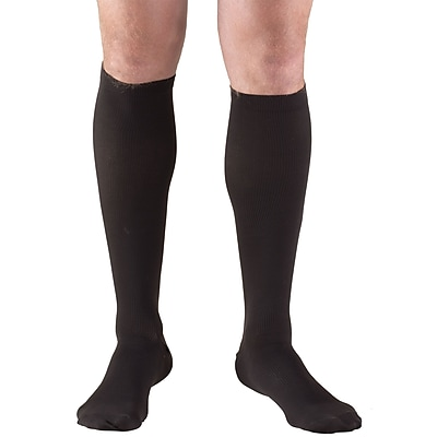 Truform Men's Socks, Knee High, Dress Style: 30-40 mmHg, L, BLACK (1954BL-L)