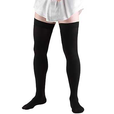 Truform Men's Thigh High Socks, Dress Style, 20-30 mmHg, XL, BLACK (1945BL-XL)
