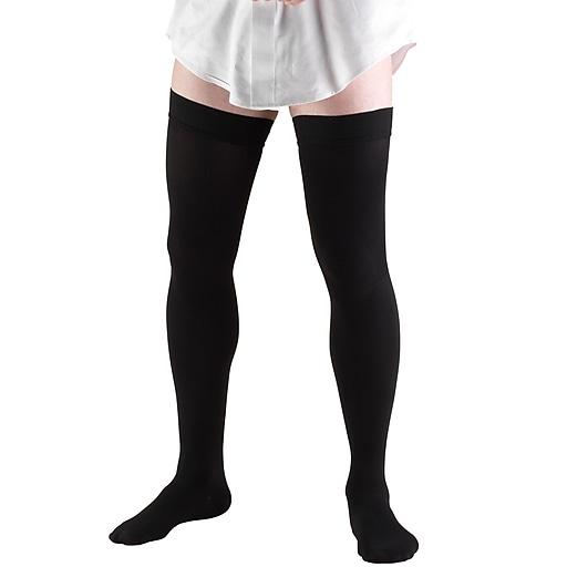 Truform Men's Thigh High Socks, Dress Style, 20-30 mmHg, S, BLACK (1945BL-S)
