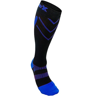 CSX Compression Socks, Sport Recovery Style, 15-20 mmHg, L, ROYAL ON BLACK (X200RYB-L)