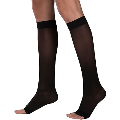 Truform Women's Stockings, Knee High, Sheer, Open Toe: 15-20 mmHg, L, BLACK (1772BL-L)