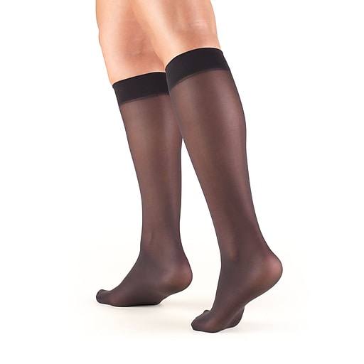 Truform Women's Stockings, Knee High, Sheer: 8-15 mmHg, XL, BLACK (1763BL-XL)