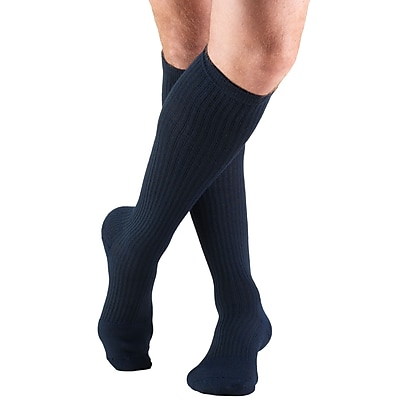Truform Men's Socks, Knee High, Cushion Foot, Active Casual Style: 15-20 mmHg, L, NAVY (1933NV-L)