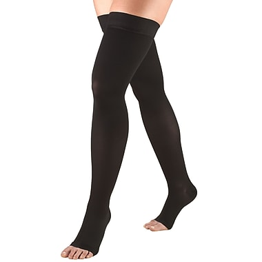 Truform Stockings, Thigh High, Open Toe, Dot Top: 20-30 mmHg, L, BLACK (0868BL-L)