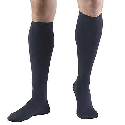 Truform Men's Socks, Knee High, Dress Style: 8-15 mmHg, M, NAVY (1942NV-M)