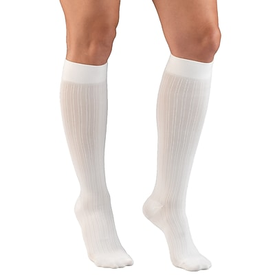 Truform Women's Trouser Socks, Dress Style, Rib Pattern: 15-20 mmHg, XL, WHITE (1973WH-XL)