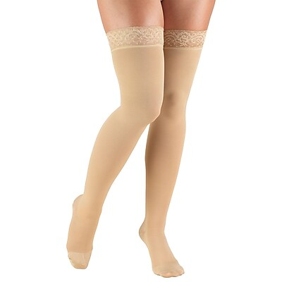 Truform Women's Stockings, Thigh High, Closed Toe, Lace Top: 20-30 mmHg, M, BEIGE (8867BG-M) 2614879