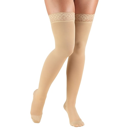Truform Women's Stockings, Thigh High, Closed Toe, Lace Top: 20-30 mmHg, S, BEIGE (8867BG-S)