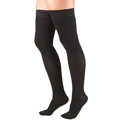 Truform Stockings, Thigh High, Closed Toe, Dot Top: 20-30 mmHg, L, BLACK (8868BL-L)