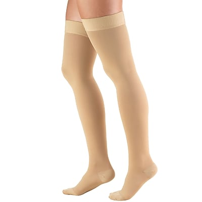 Truform Stockings, Thigh High, Closed Toe, Dot Top: 20-30 mmHg, M, BEIGE (8868BG-M)