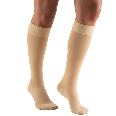 Truform Stockings, Knee High, Closed Toe, Dot Top: 20-30 mmHg, 2L, BEIGE (8864BG-2L)