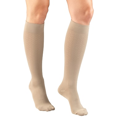 Truform Women's Trouser Socks, Dress Style, Diamond Pattern: 15-20 mmHg, XL, TAN (1976TN-XL)