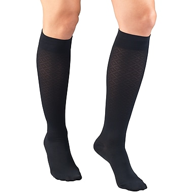 Truform Women's Trouser Socks, Dress Style, Diamond Pattern: 15-20 mmHg, L, NAVY (1976NV-L)