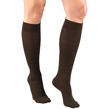 Truform Women's Trouser Socks, Dress Style, Diamond Pattern: 15-20 mmHg, S, BROWN (1976BN-S)