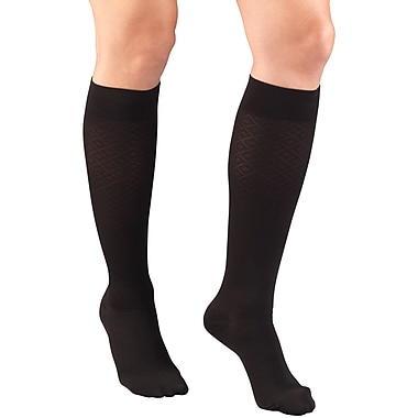Truform Women's Trouser Socks, Dress Style, Diamond Pattern: 15-20 mmHg, L, BLACK (1976BL-L)