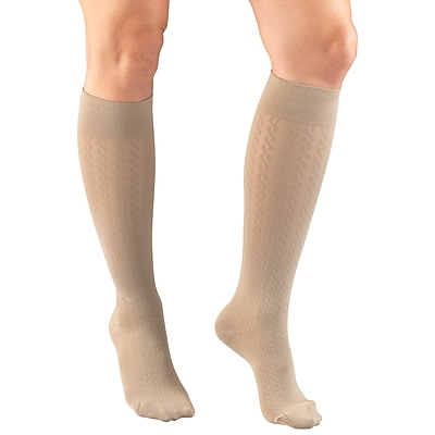 Truform Women's Trouser Socks, Dress Style, Cable Pattern: 15-20 mmHg, M, TAN (1975TN-M)