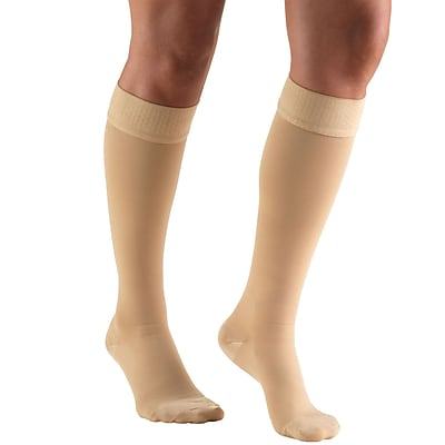 Truform Stockings, Knee High, Closed Toe, Dot Top: 30-40 mmHg, XL, BEIGE (8844BG-XL)