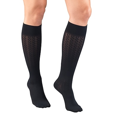 Truform Women's Trouser Socks, Dress Style, Cable Pattern: 15-20 mmHg, XL, NAVY (1975NV-XL)