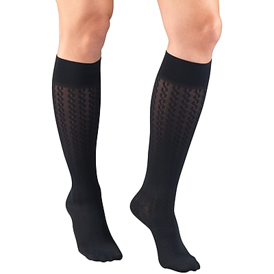 Truform Women's Trouser Socks, Dress Style, Cable Pattern: 15-20 mmHg, L, NAVY (1975NV-L)
