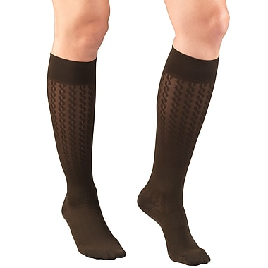 Truform Women's Trouser Socks, Dress Style, Cable Pattern: 15-20 mmHg, XL, BROWN (1975BN-XL)
