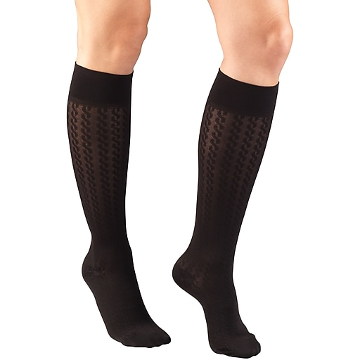 Truform Women's Trouser Socks, Dress Style, Cable Pattern: 15-20 mmHg, S, BLACK (1975BL-S)