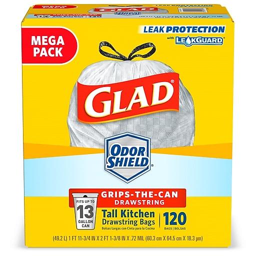 Glad Odorshield 10 13 Gal Tall Kitchen Trash Bags High Density 18 3 Mic 25 4 X 23 75 White Flat Pack 120 Box 79158