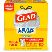 Glad Drawstring, 13 Gallon Tall Kitchen Trash Bags, .72 mil, 9 x 10.71, Gray, 120 Bags/Box (78555)