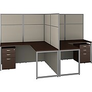 Bush Business Furniture Easy Office 60W 2 Person L Shaped Cubicle Desk with Drawers and 66H Panels, Mocha Cherry (EODH56SMR-03K)