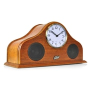 Pyle 93599254M Retro Vintage Style Clock & Bluetooth Stereo Speaker System