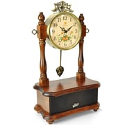 Pyle 93599255M 2-in-1 Retro Vintage Style Clock & Bluetooth Stereo Speaker System