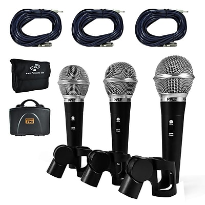 Pyle Pro PDMICKT34 Dynamic Microphone Kit Including (3) Professional Handheld Mics and XLR Audio Cables