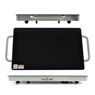 NutriChef 93599455M Electric Warming Tray / Food Warmer with Non-Stick Heat-Resistant Glass Plate
