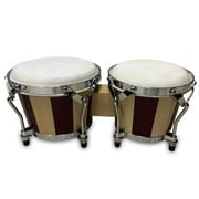 Pyle PBND10 Hand-Crafted Wooden Bongo Drums with Two Tone Wood Panels, Birch Wood, Brown/Beige