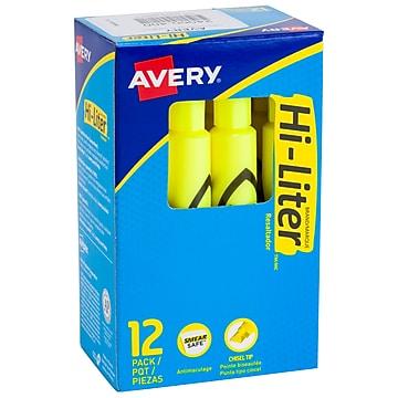 Avery Hi-Liter Desk Style Highlighters, Chisel Tip, Yellow, Dozen (24000)