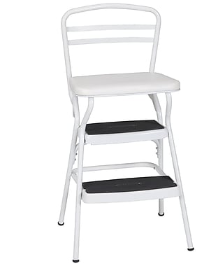 Cosco White Retro Counter Chair / Step Stool With Lift Up Seat, Bright White