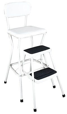 Attirant Cosco Products Cosco White Retro Counter Chair / Step Stool With Pull Out  Steps, BRIGHT WHITE/BRIGHT WHITE