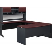 Ameriwood Home Pursuit U-Shaped Desk with Hutch Bundle, Gray/Cherry (9347096)