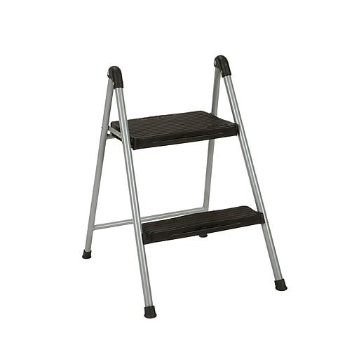 "COSCO 23.75"" Two Step Steel/Resin Folding Step Stool, Platinum/Black"