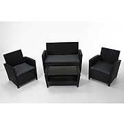 Cosco Malmo 88520BGYE 4-Piece Resin Wicker Conversation Set; Gray