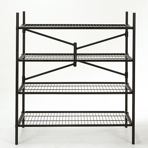 "Cosco® 4-Shelf 47.54"" Folding Instant Storage Unit, Black (66714BLK1E)"