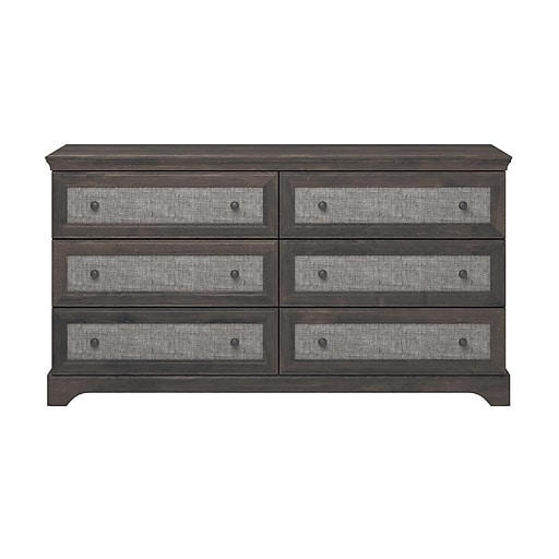 Ameriwood Home Stone River 6 Drawer Dresser with Fabric Inserts, Weathered Oak (5680213PCOM)