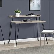"Ameriwood Home Haven Retro 45""W Desk with Riser, Distressed Gray Oak (9881096COM)"